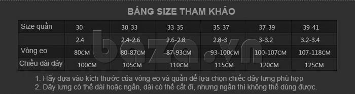 Kích cỡ dây lưng phù hợp với mọi dáng người châu Á