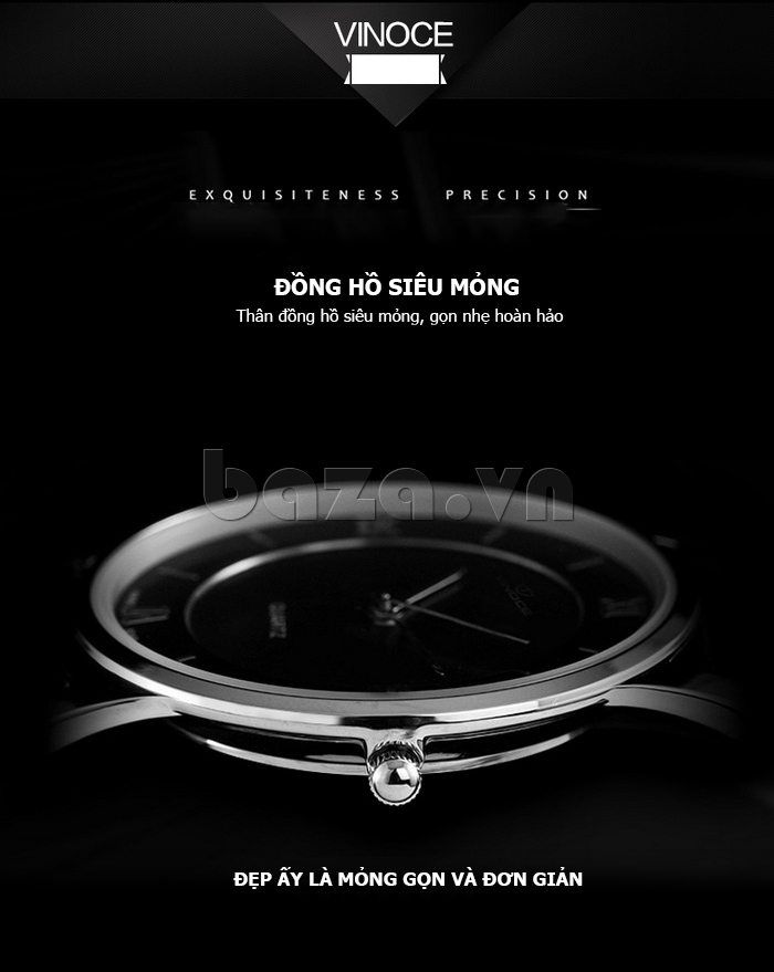 Đồng hồ nam siêu mỏng Vinoce V8350G độc