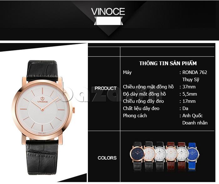 Đồng hồ nam siêu mỏng Vinoce V8350G tinh xảo