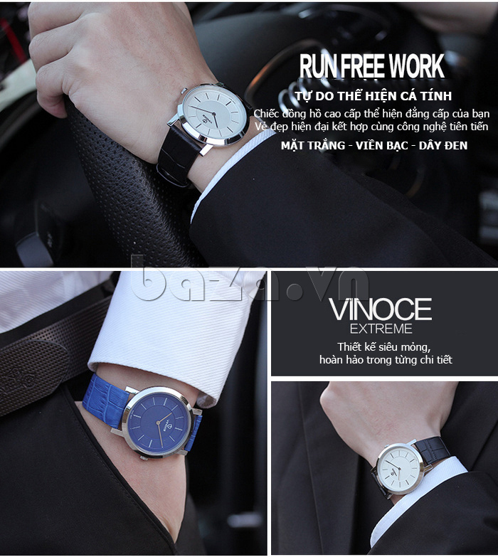 Đồng hồ nam siêu mỏng Vinoce V8350G cao cấp