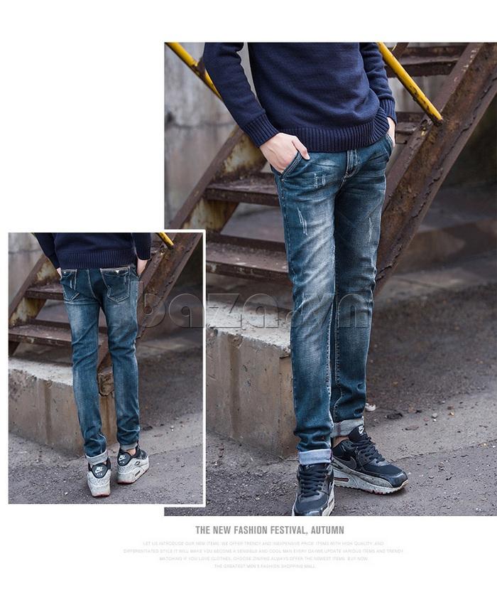 Quần jeans nam mài xước No1dara KZ11007  tiện dụng