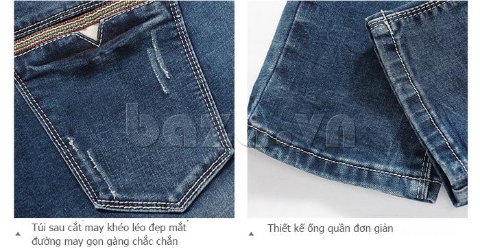 Quần jeans nam mài xước No1dara KZ11007  chỉ may tỉ mỉ