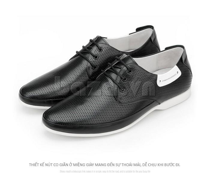 giày nam Olunpo XHT1402 được thiết kế nút co giãn ở miệng giày