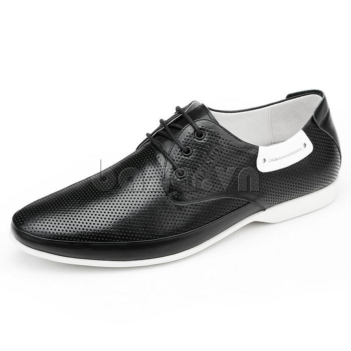 giày nam Olunpo XHT1402 da đen đế trắng tạo sự tươi mới cho thời trang giày