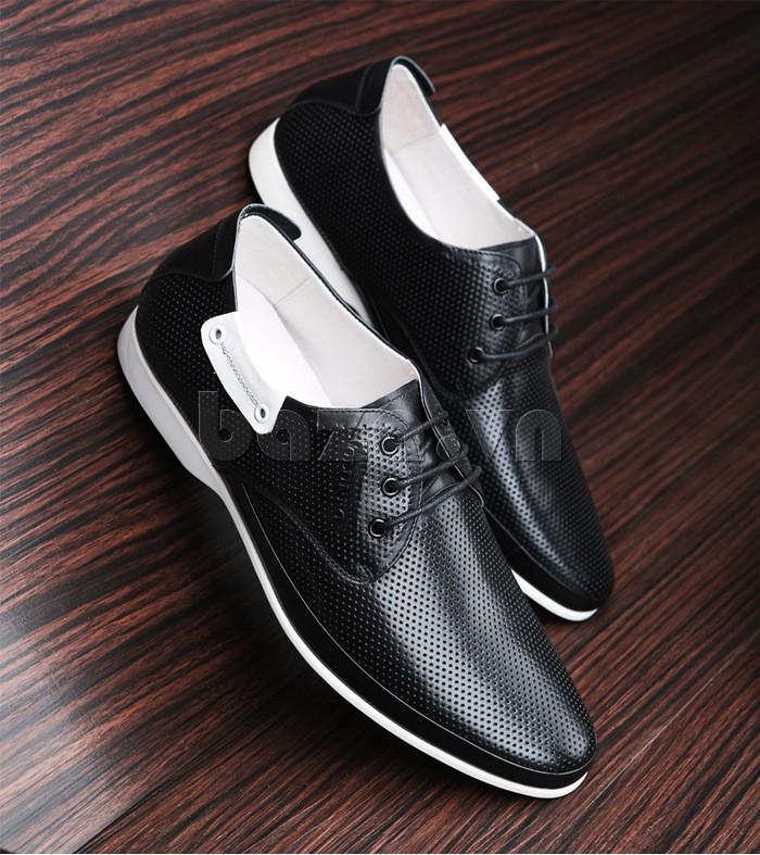 giày nam Olunpo XHT1402 là sự kết hợp tinh tế giữa màu đen và màu trắng