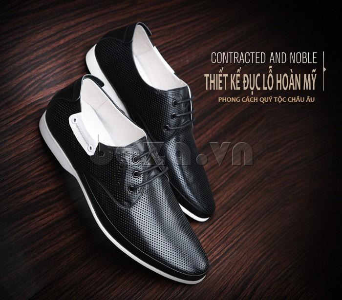 giày nam Olunpo XHT1402 thiết kế đục lỗ hoàn mỹ