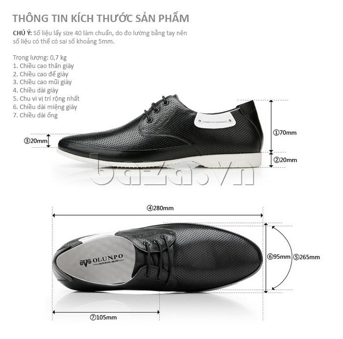 thông tin kích thước của giày nam Olunpo