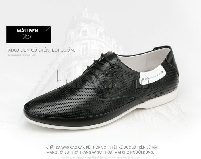 giày nam Olunpo XHT1402 được làm từ da đục lỗ cao cấp giúp chân thoải mái