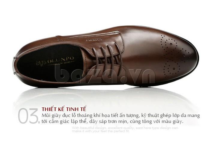 Mũi giày của Giày nam Olunpo QHSL1307 đục lỗ thoáng khí giúp chân thoải mái đi trong ngày hè