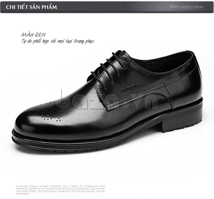 Giày nam Olunpo QHSL1307 màu đen tự do phối hợp với mọi loại trang phục