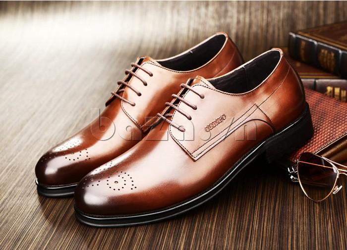 Giày nam Olunpo QHSL1307 màu nâu trẻ trung, quyến rũ