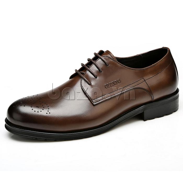 Giày nam Olunpo QHSL1307 màu cafe ấn tượng, thể hiện cá tính trầm ổn của nam giới