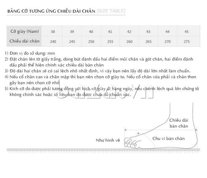 Chọn Giày nam Olunpo QHSL1307 đúng kích thước của bàn chân mình