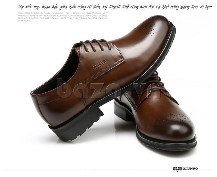 Giày nam Olunpo QHSL1307 là sự kết hợp giữa kiểu dáng cổ điển và họa tiết hiện đại