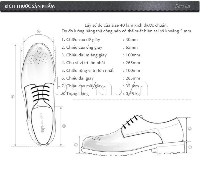 Kích thước cụ thể của Giày nam Olunpo QHSL1307