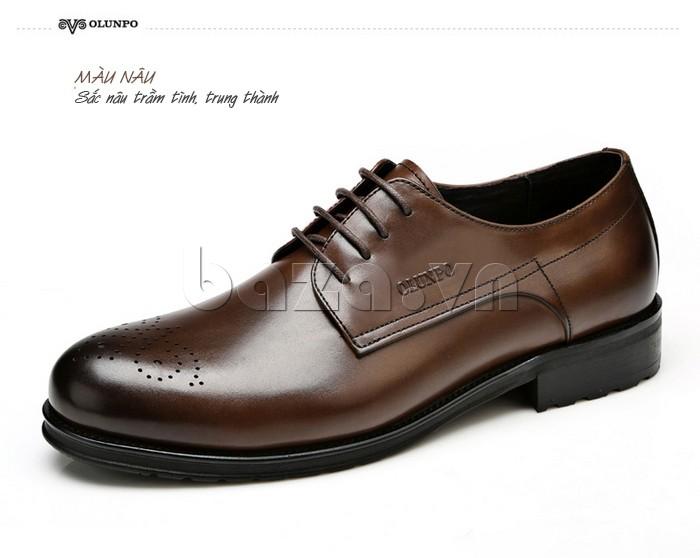 Giày nam Olunpo QHSL1307 màu nâu trầm tĩnh, trung thành
