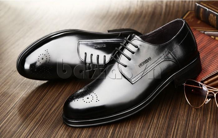 Giày nam Olunpo QHSL1307 sáng bóng, mịn màng dễ bảo quản và lau chùi