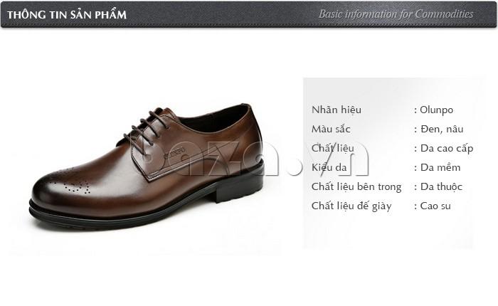 thông tin cụ thể của Giày nam Olunpo QHSL1307
