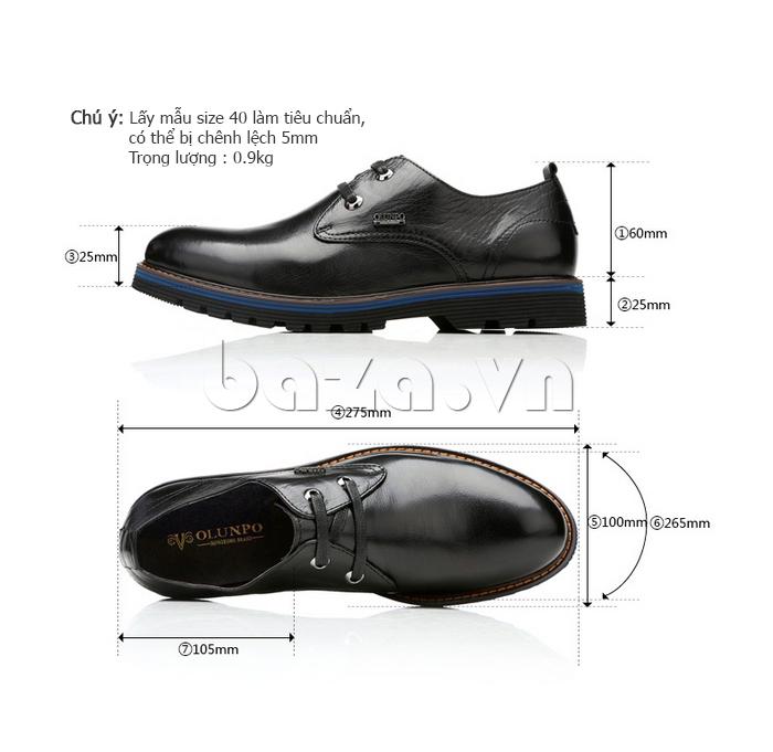 kích thước của Giày da nam Olunpo QJY1405