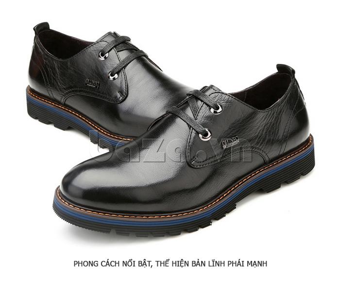Giày da nam Olunpo QJY1405 làm từ da bóng, mịn dễ bảo quản