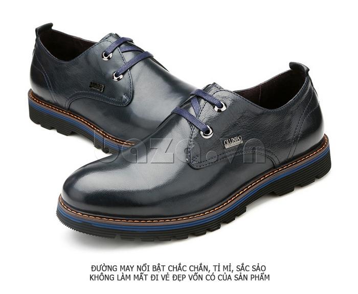 Giày da nam Olunpo QJY1405 quyến rũ hơn với màu xanh lam đậm