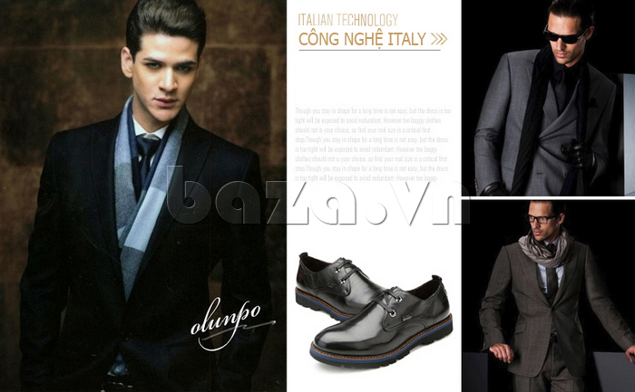 Giày da nam Olunpo QJY1405 sử dụng công nghệ Italia