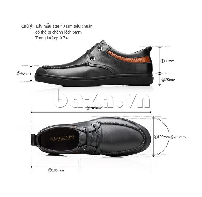 kích thước chuẩn Giày da nam Olunpo QJY1404  khi bạn muốn chọn