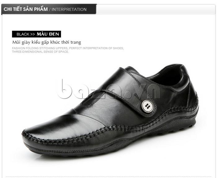 Mũi giày da kiểu gấp khúc thời trang