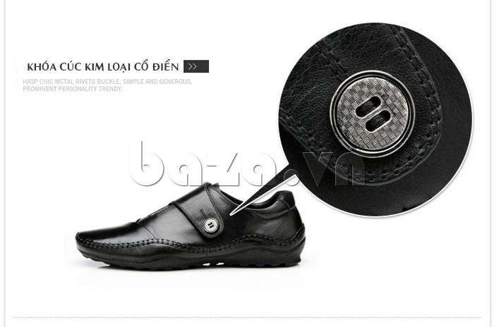 Khóa cúc giày kim loại cổ điển, không gỉ, không xước