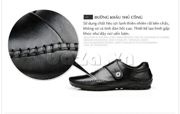Đường khâu giày sử dụng chất liệu sợi lanh thiên nhiên, không xơ với tính đàn hồi cao