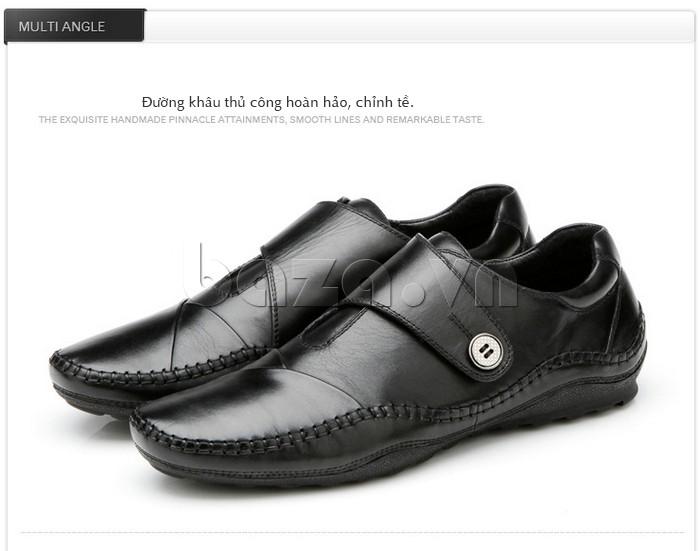 Giầy da nam Olunpo đường khâu giày hoàn hảo, chỉnh tề