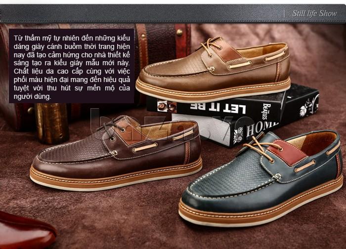 chất liệu da cao cấp, phối màu hiện đại giúp người dùng cảm nhận sâu sắc vẻ đẹp của giày OlunpoCXYF1301