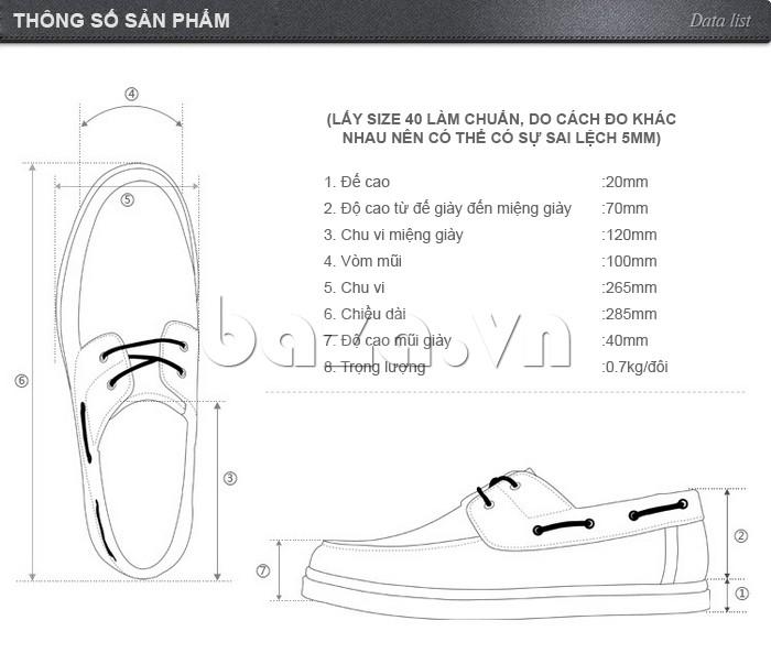 Thông số sản phẩm của giày OlunpoCXYF1301