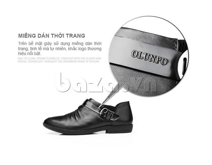 Trên bề mặt giày sử dụng miếng dán thời trang, tinh tế, nổi bật logo Olunpo