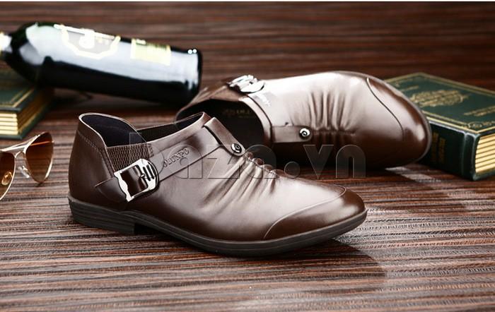 Giầy da nam Olunpo QXD1301 kiểu dáng giày lười có đai cài