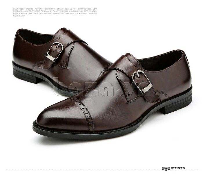 giày nam Olunpo QLXS1305 có dây đai thắt ngang tạo sự trẻ trung, sang trọng