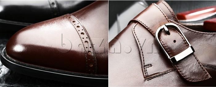 giày nam Olunpo QLXS1305 màu nâu cổ điển đầy quyến rũ