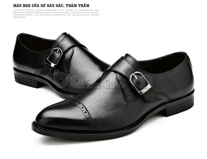 giày nam Olunpo QLXS1305 với màu đen mang tính sâu sắc, trầm ổn cho nam giới