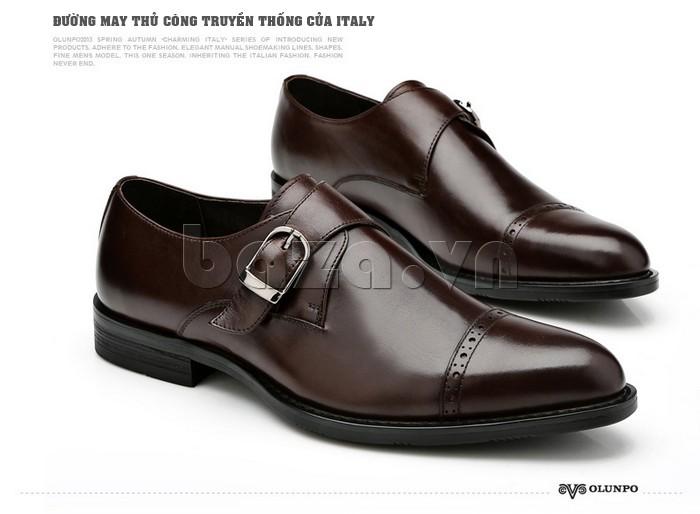 giày nam Olunpo QLXS1305 thiết kế với những đường may thủ công truyền thống