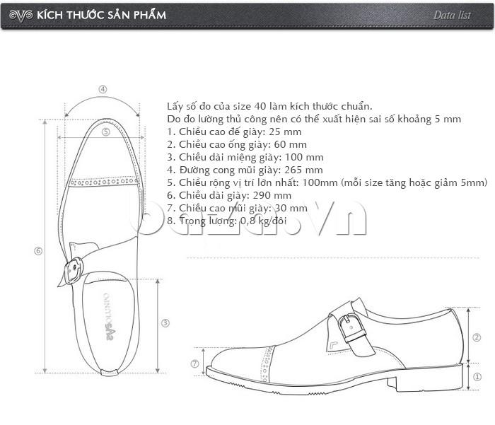 Kích thước sản phẩm của giày nam Olunpo QLXS1305