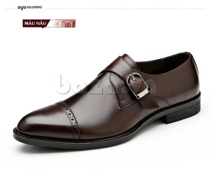 giày nam Olunpo QLXS1305 màu nâu lịch lãm, phù hợp dùng làm giày cưới