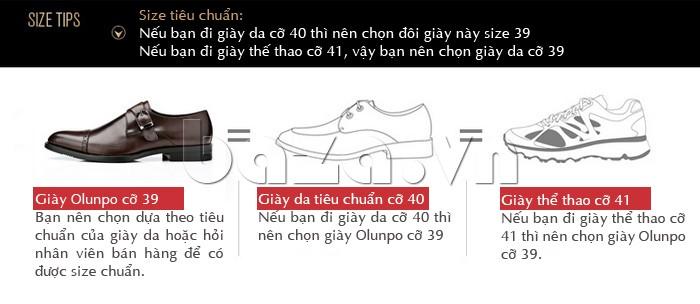 Các size chuẩn của giày nam Olunpo QLXS1305