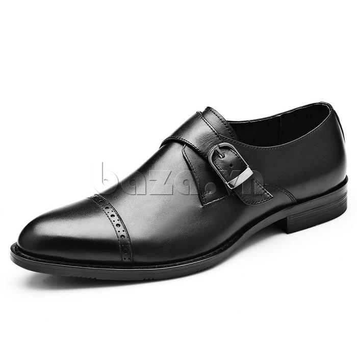 giày nam Olunpo QLXS1305 màu đen sang trọng, huyền bí