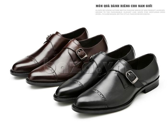 giày nam Olunpo QLXS1305 có màu đen và màu nâu sang trọng