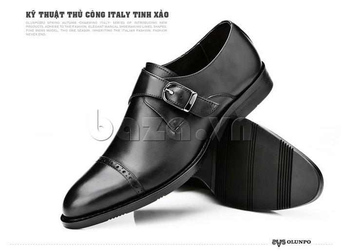giày nam Olunpo QLXS1305 kỹ thuật thủ công Ý tinh xảo