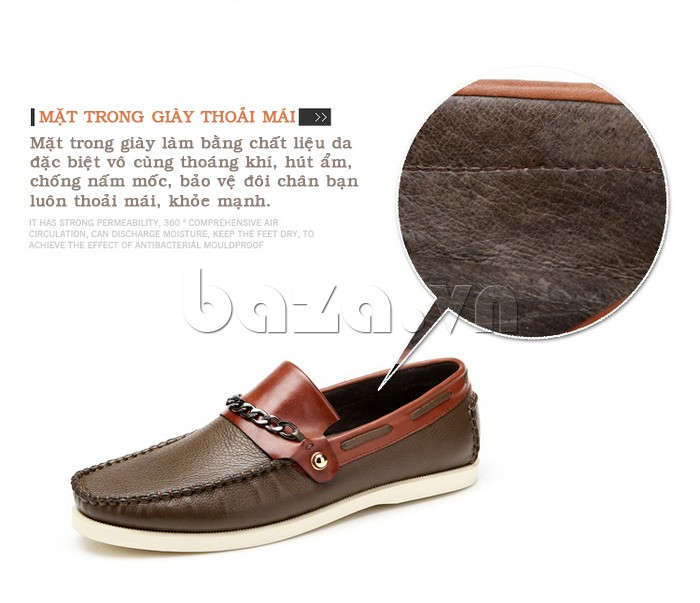 Mặt trong của giày nam Olunpo CLXS1221 giúp chân thoải mái