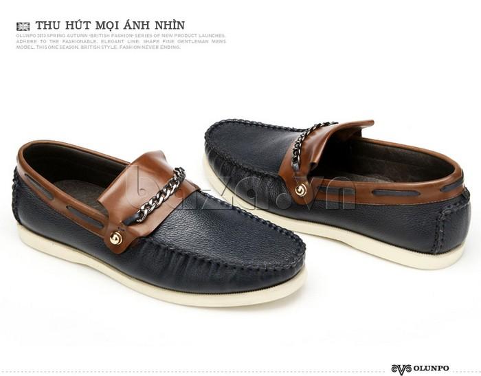 giày nam Olunpo CLXS1221 màu đen cuốn hút, thu hút ánh nhìn