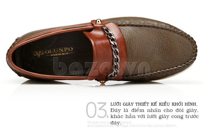 giày nam Olunpo CLXS1221 lưỡi giày thiết kế kiểu khối hình