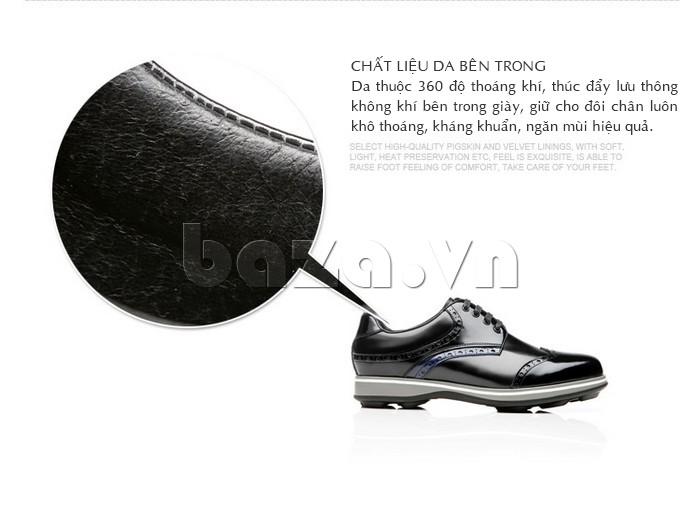 Chất liệu da thuộc 360 độ thoáng khí, thúc đẩy lưu thông không khí bên trong giày, giữ chô chân luôn khô thoáng