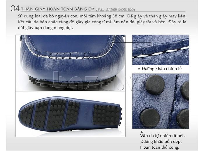 Giầy lười nam Olunpo CHY1402 thân giày hoàn toàn bằng da bò